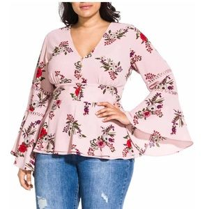 City Chic Skye floral flare sleeve top